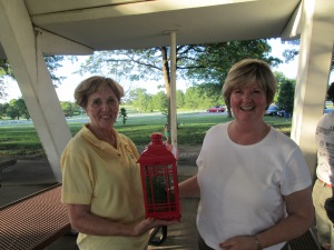Past President Judy Cox presented with a parting gift by new President Judy Miksch.