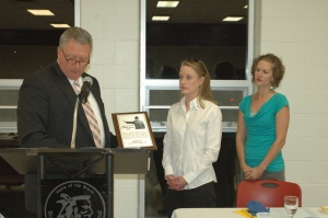 The Marion Vaughn Community Service Award was given posthumously to Al Stuchlik, former Bonner Springs City Council member and volunteer for organizations like Vaughn-Trent Community Services, VFW Post 6401 and the Bonner Springs Horseshoe Tournament. Stuchlik's daughters accepted the award on his behalf.